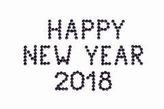 Życzenie SZCZĘŚLIWY nowy rok 2018 zrobi rhinestones czerni kolor na wh Zdjęcie Royalty Free