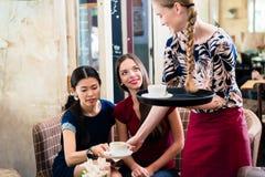 Życzliwa kelnerki porci kawa w eleganckiej restauraci zdjęcie royalty free