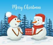 Życzliwi bałwany w Santa kapeluszu Snowwoman royalty ilustracja