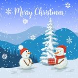 Życzliwi bałwany w Santa kapeluszu Uśmiechnięty Mroźny z prezenta pudełkiem Snowwoman Widok zima krajobraz ilustracja wektor