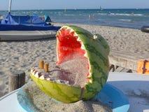 Życzliwy, śmieszny ashtray dla plaży, robić od wydrążonego out arbuza i wypełniający z piaskiem, Zdjęcia Stock