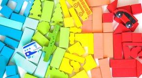 Życzliwy drewniany koloru konstruktor odizolowywający na białym tle rozwój dziecka preschool Bawić się budynek zdjęcia royalty free