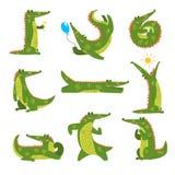 Życzliwy krokodyl w różnych pozach ustawia, śmiesznej drapieżnik postaci z kreskówki wektorowa ilustracja na białym tle ilustracja wektor