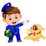 Życzliwy listonosz z torbą i ślicznym psem royalty ilustracja