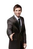 Życzliwy mężczyzna daje ręce pieczętować zgodę Obraz Stock