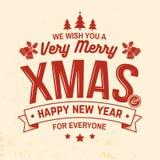 Życzymy wam bardzo Wesoło boże narodzenia i Szczęśliwego nowego roku znaczek, majcher ustawiający z holly, jagoda, choinka, dzwon royalty ilustracja