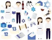 Żydowscy Prętowego mitzvah nietoperza mitzvah ikon wektorowi elementy Żydowskiej dziewczyny odświętności 12th urodziny, Żydowskie ilustracji