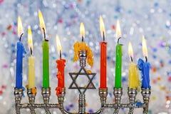 Żydowscy wakacyjni hannukah symbole - menorah zdjęcia royalty free