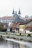 Żydowska ćwiartka i górska chata, Trebic, republika czech zdjęcia stock