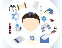 Żydowska chłopiec ikona z tradycyjnymi Prętowego mitzvah elementami Zdjęcie Stock