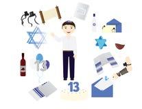 Żydowska chłopiec z tradycyjnymi Prętowego mitzvah elementami Zdjęcia Royalty Free