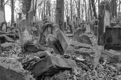 Żydowski cmentarz w Krakow Polska zdjęcie stock