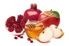 Żydowski nowego roku skład Granatowiec, czerwony jabłko i miód, zdjęcia stock