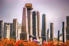 Żydowski stary cmentarz mechaci nagrobki obraz stock