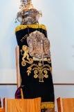 żydowski symbol, wakacyjny obrządkowy ubraniowy Torah przy Prętowego Mitzvah 5 2015 WRZEŚNIA usa Fotografia Stock