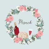 Żydowski wakacyjny Pesach, Passover kartka z pozdrowieniami Wręcza patroszonego kwiecistego wianek z butelką wino, szkło, matzo c ilustracja wektor