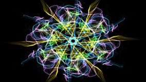 Żyje zielony fractal mandala, wideo tunel na czarnym tle Animowani symmetric wzory dla sprawy duchowe i medytaci