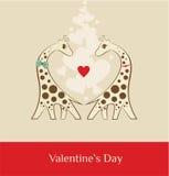 Żyrafa - valentines dnia brąz Zdjęcia Stock