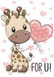 Żyrafa z balonem na serca tle ilustracja wektor