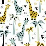 Żyrafy i drzewka palmowe, bezszwowy wzór ilustracja wektor