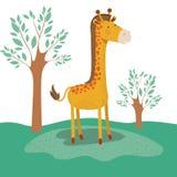 Żyrafy zwierzęca karykatura w lasu krajobrazu tle Obraz Stock