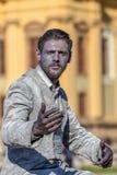 Żywa statua mężczyzna, osrebrza ubiera Zdjęcie Royalty Free