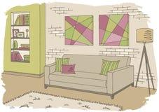 Żywego izbowego graficznego koloru nakreślenia ilustraci wewnętrzny wektor Fotografia Royalty Free