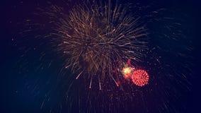 Żywi fajerwerki zaświecają w niebie przy świętowanie nocą 4K zdjęcie wideo