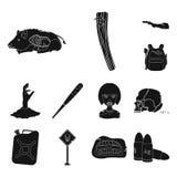 Żywi trupy i atrybut czarne ikony w ustalonej kolekci dla projekta Nieżywego mężczyzna symbolu zapasu sieci wektorowa ilustracja ilustracji