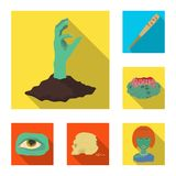 Żywi trupy i atrybut płaskie ikony w ustalonej kolekci dla projekta Nieżywego mężczyzna symbolu zapasu sieci wektorowa ilustracja royalty ilustracja