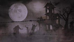 Żywi trupy w mgle przez drutu kolczastego 4K royalty ilustracja