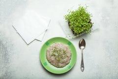 Żywienioniowy śniadanie oatmeal i mikro zielenieje na białym tle obraz royalty free