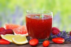 Żywienioniowy detox napój z truskawką, cytryną i grapefruitowym, zdjęcie royalty free