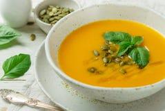 Żywienioniowy jarski dyniowy kremowy zupny puree zdjęcia stock