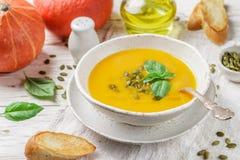 Żywienioniowy jarski dyniowy kremowy zupny puree zdjęcia royalty free