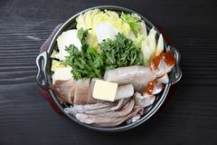 Żywność kałamarnica i jarzynowy gorący garnek obrazy stock