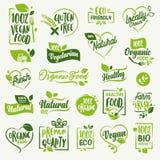 Żywność organiczna, gospodarstwo rolne świeżego, naturalnego produktu etykietki i i odznaki inkasowi ilustracji