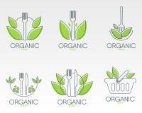 Żywność Organiczna logowie Ustawiający Zdrowa karmowa ikona Obrazy Stock