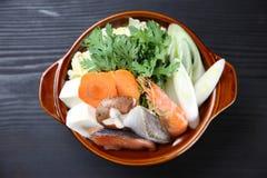 Żywność owoce morza Sumo zapaśnika Gorący garnek zdjęcia royalty free