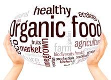 Żywności organicznej słowa chmury ręki sfery pojęcie royalty ilustracja