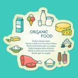 Żywności organicznej wektorowa ilustracja w liniowym stylu Fotografia Royalty Free