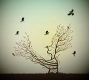 Żywy drzewo na skale i titmouses ptaki, drzewna dusza, mężczyzna jak drzewo daje jego ręki gałąź latający ptaki, bajka ilustracja wektor