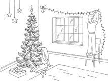 Żywy izbowy graficzny czarny biały wewnętrzny nakreślenie ilustraci wektor Dzieci dekoruje choinki i pokój ilustracja wektor