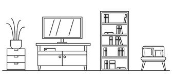 Żywy izbowy pojęcia tło, konturu styl ilustracji