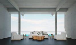 Żywy izbowy wewnętrzny panel i izolujemy tła i morza widok Zdjęcia Royalty Free