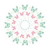 Żywy motyli kalejdoskopu mandala ilustracji