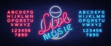 Żywy muzykalny neonowy znak, logo, emblemat, symbolu plakat z mikrofonem również zwrócić corel ilustracji wektora Neonowy jaskraw ilustracji