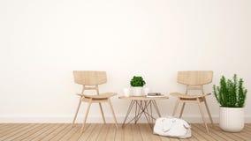 Żywy pokój lub sklep z kawą - 3D rendering Zdjęcia Stock