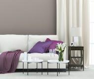 Żywy pokój z kanapą i kaliami fotografia stock