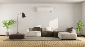Żywy pokój z kanapy i powietrza conditioner ilustracji